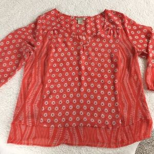 Lucky Brand sheer Large 3/4 length top